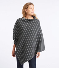 Merino-Blend Sweater Poncho, Stripe