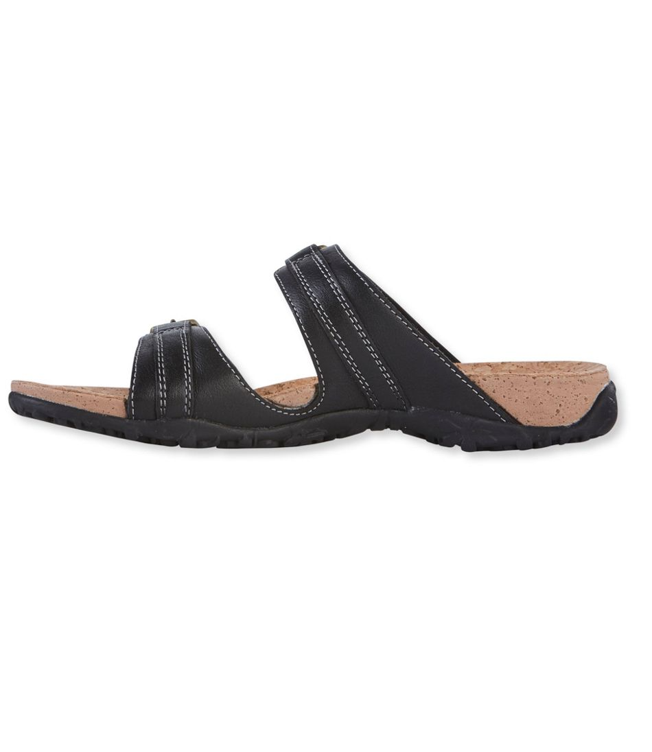 Women's Cork Slides, Double-Buckle Leather