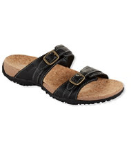 Women's Cork Slides, Double-Buckle Leather