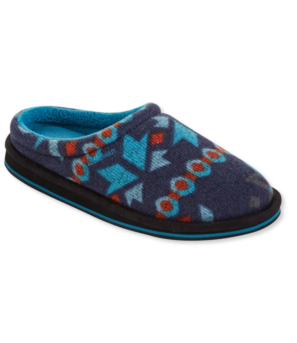 Sweater Fleece Slippers, Scuff Print