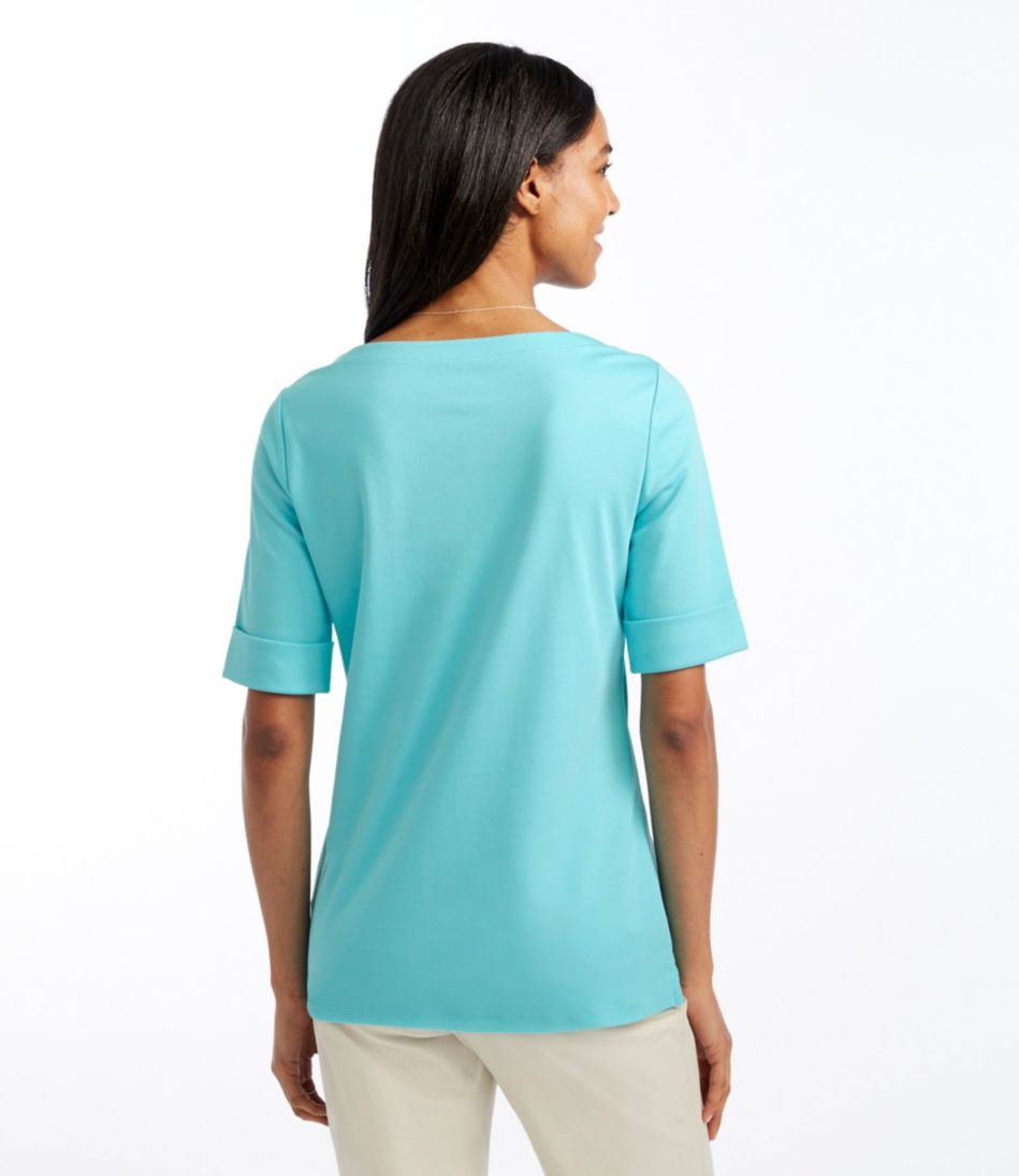 L.L.Bean Tee, Cuffed Elbow-Sleeve Boatneck