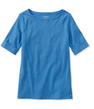 Women's L.L.Bean Tee, Cuffed Elbow-Sleeve Boatneck