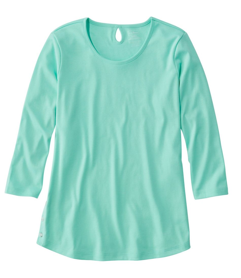 Pima Cotton Tee, Three-Quarter-Sleeve Side-Button Tunic
