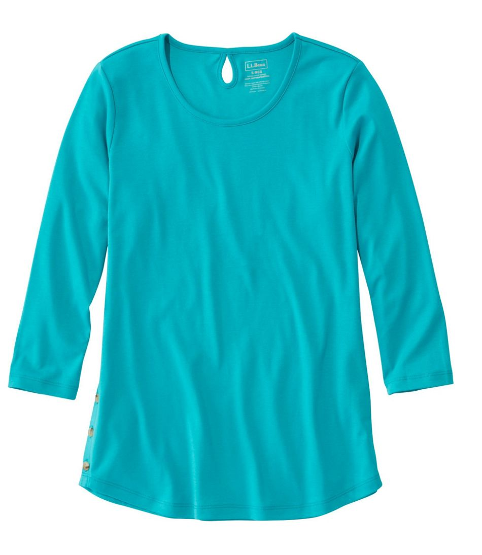 Pima Cotton Tee, Three-Quarter-Sleeve Side-Button Tunic