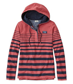 Women's Soft Cotton Rugby, Hoodie Pullover Stripe