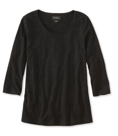 Organic Cotton Tee, Three-Quarter-Sleeve Scoopneck