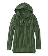 Women's Fisherman's Ribbed Hooded Lace-Up Pullover