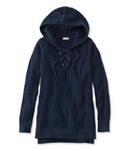 Fisherman's Ribbed Hooded Lace-Up Pullover