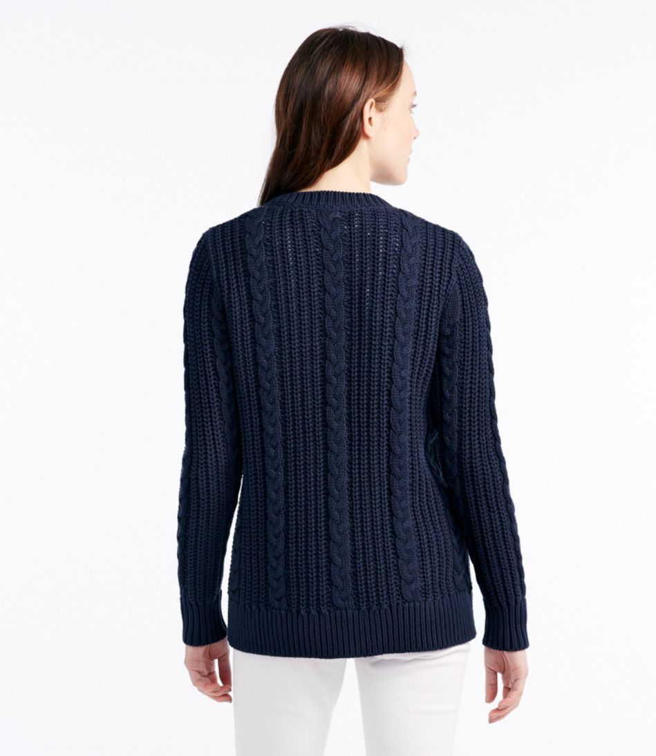 Rope-Stitch Shaker Sweater, Button-Front Cardigan