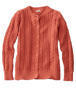 Women's Rope-Stitch Shaker Sweater, Button-Front Cardigan