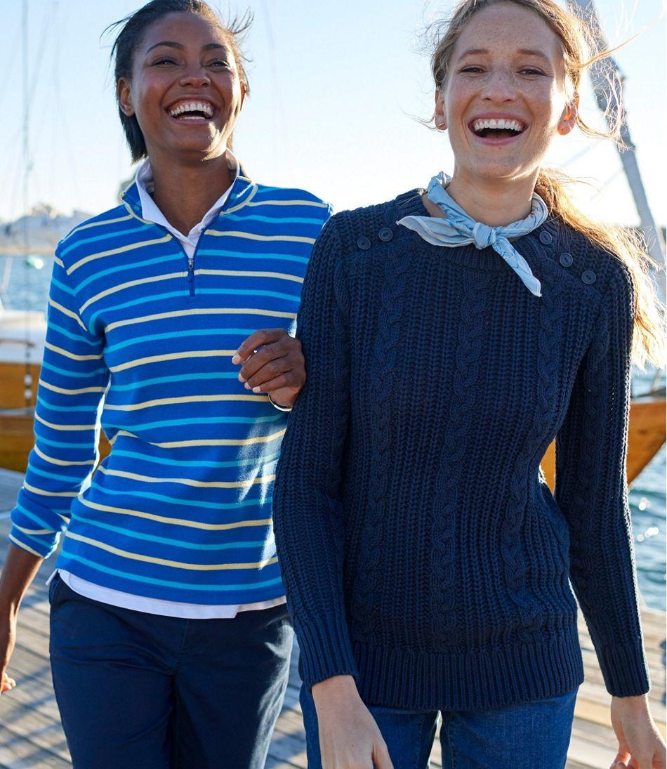 Rope-Stitch Shaker Sweater, Crewneck