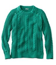 Rope-Stitch Shaker Sweater, Crewneck
