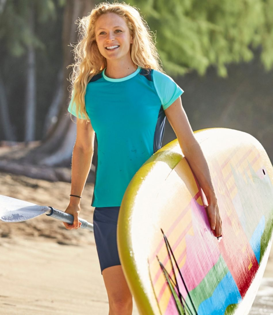 L.L.Bean Active Swim Collection, Colorblock Rashguard Short-Sleeve