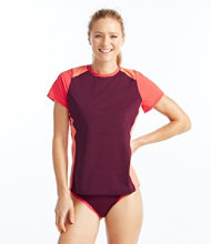 Women's L.L.Bean Active Swim Collection, Colorblock Rashguard Short-Sleeve