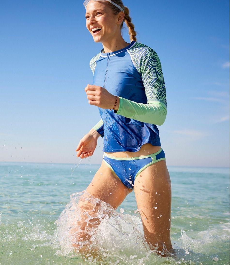 ReNew Swimwear, Long-Sleeve Rash Guard Colorblock