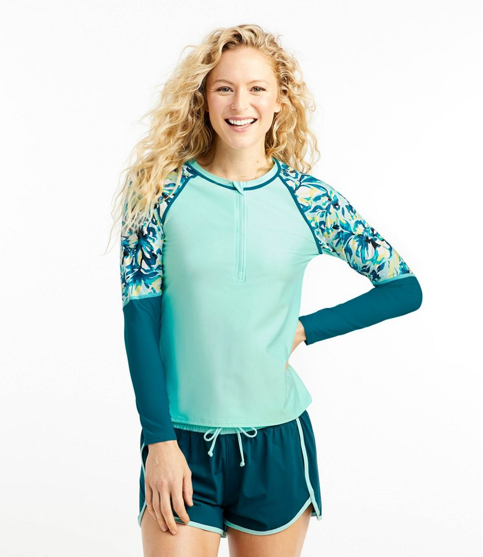 Women's ReNew Swimwear, Long-Sleeve Rash Guard Colorblock