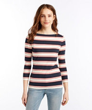 Signature Cotton/Modal Boatneck Top, Three-Quarter-Sleeve Stripe