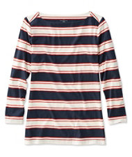 Women's Signature Cotton/Modal Boatneck Top, Three-Quarter-Sleeve Stripe