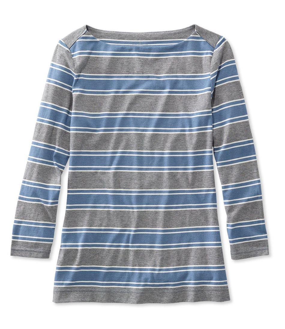 Signature Cotton/Modal Boatneck Top, Three-Quarter-Sleeve Stripe