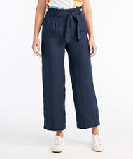 Signature Linen Wide-Leg Cropped Pants