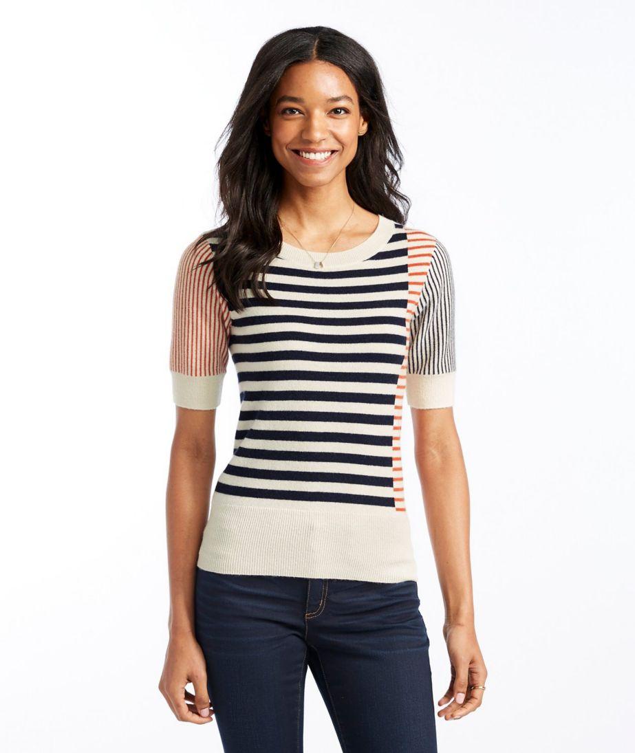 Signature Cashmere Sweater, Short-Sleeve Stripe