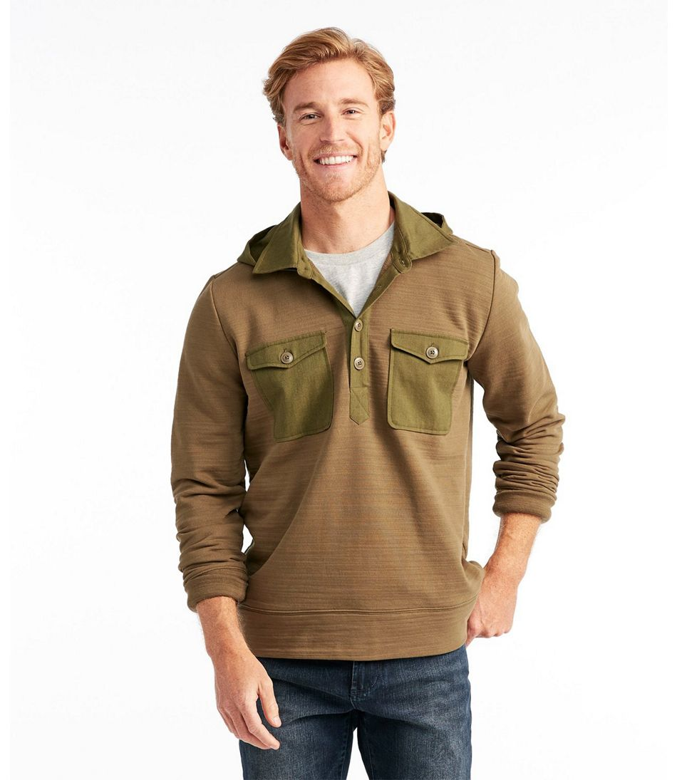 Signature Hooded Henley Sweatshirt, Long Sleeve