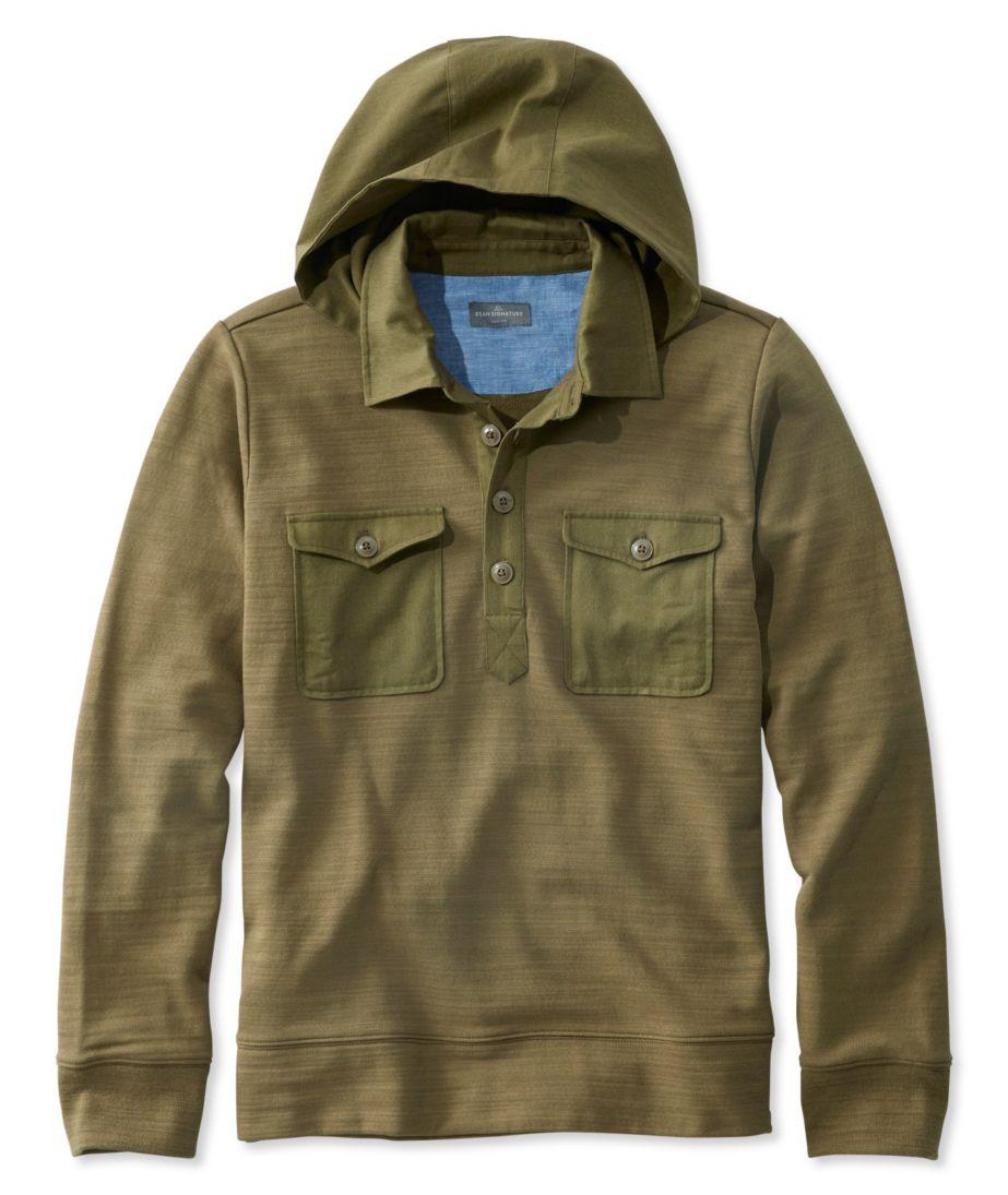Signature Hooded Henley Sweatshirt, Long Sleeve