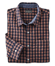 Signature Summer Indigo Seersucker Shirt, Long-Sleeve Plaid