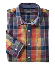 Signature Summer Indigo Madras Shirt, Long-Sleeve Plaid