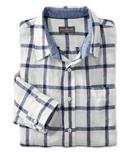 Signature Summer Indigo Linen Shirt, Long-Sleeve Plaid