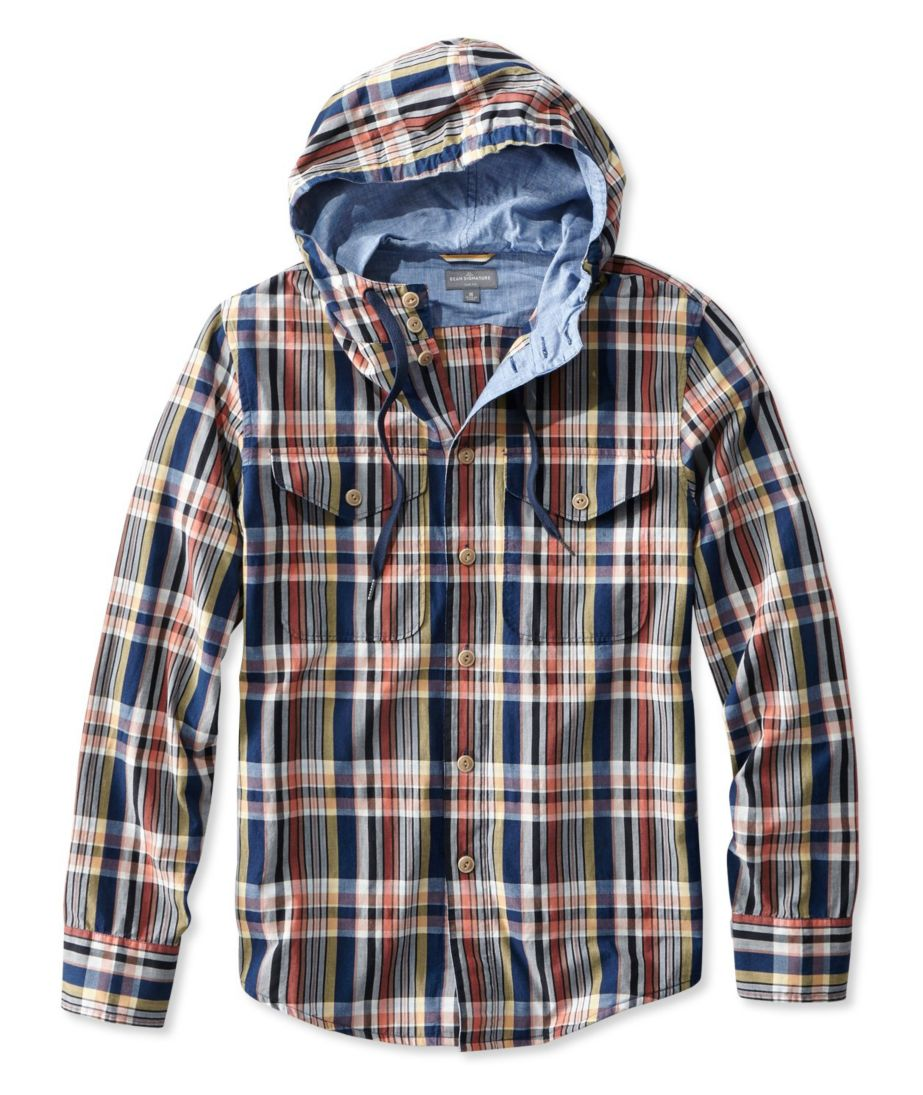 Signature Hooded Madras Shirt, Long-Sleeve
