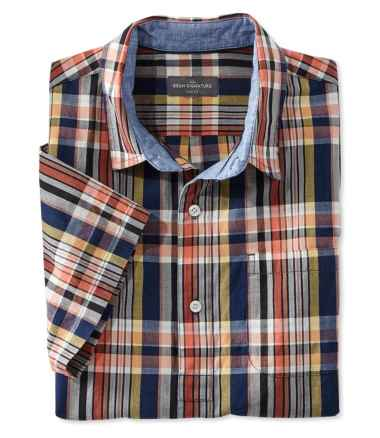 Signature Summer Indigo Madras Popover Shirt, Short-Sleeve Plaid
