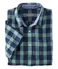 Signature Summer Indigo Popover Linen Shirt, Short-Sleeve Plaid