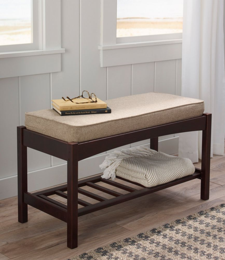 Picture of: Mission Occasional Wooden Bench With Cushion