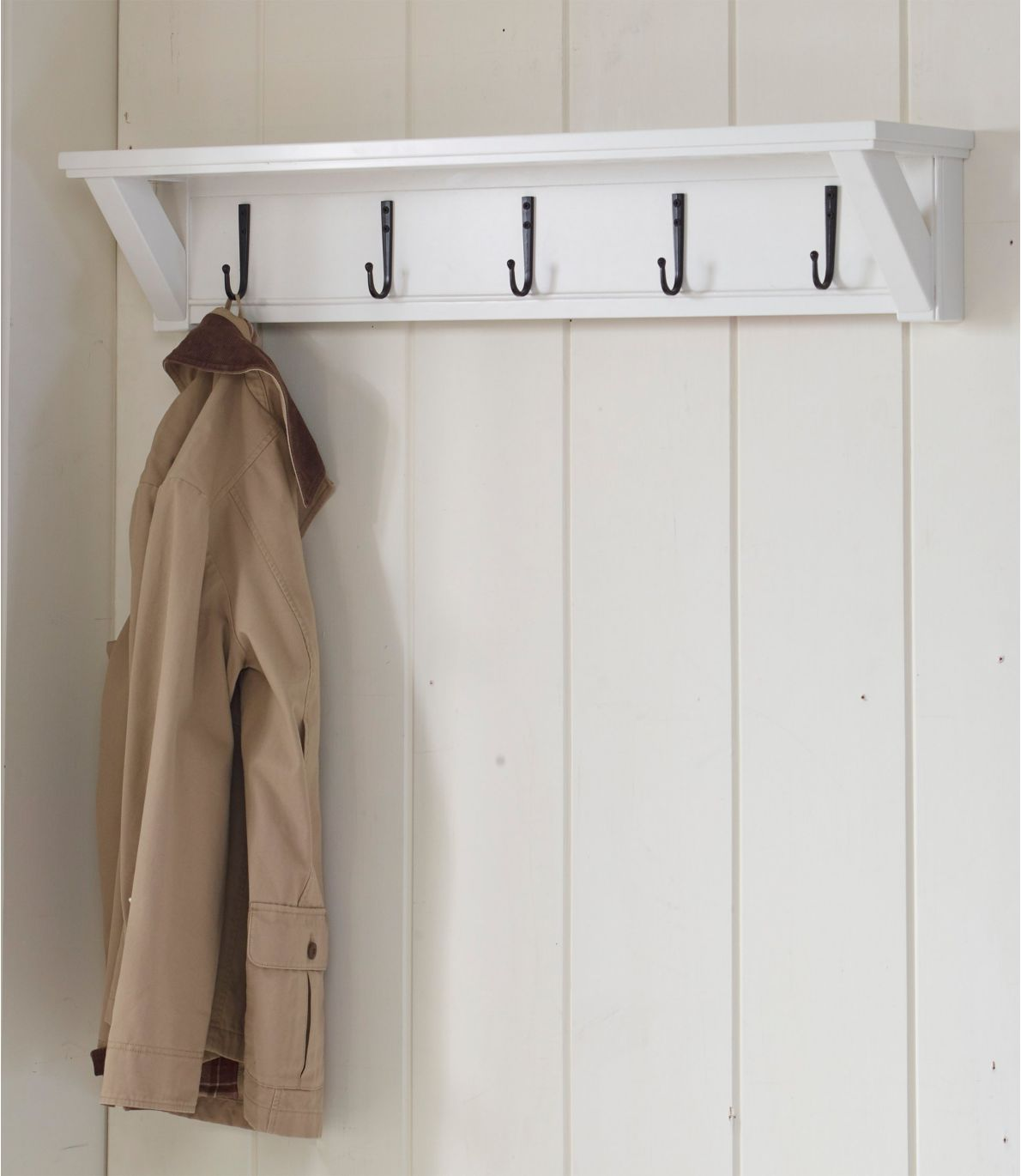 Painted Farmhouse Wall Shelf With Hooks