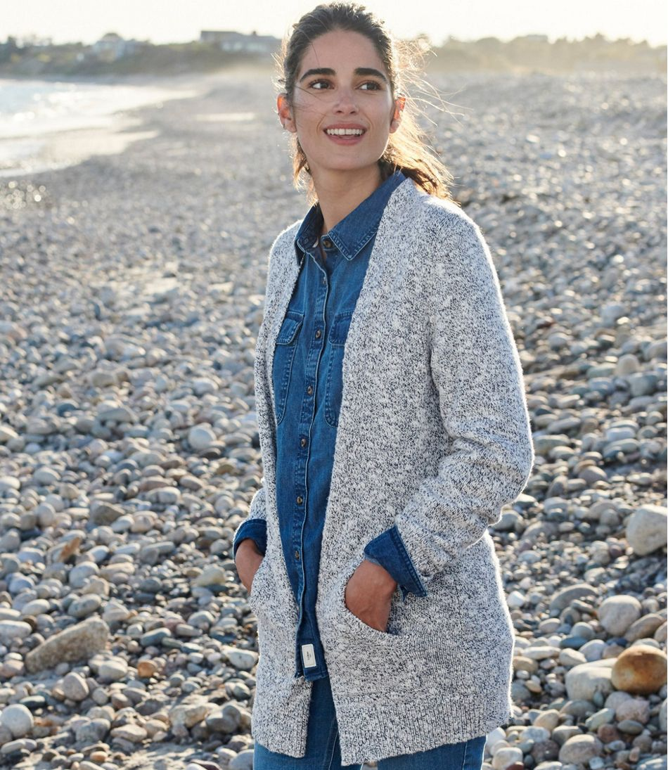 Women's Cotton Ragg Sweater, Open Cardigan