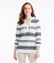 Fisherman's Ribbed Hooded Lace-Up Pullover, Stripe