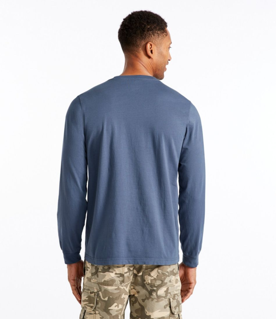 Lakewashed Garment-Dyed Cotton Crewneck Tee, Slightly Fitted Long-Sleeve