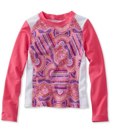 Girls' Sun-and-Surf Shirt, Long-Sleeve Print Colorblock
