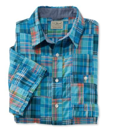 L.L.Bean Madras Shirt, Slightly Fitted Short-Sleeve Patchwork