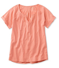 Organic Cotton Tee, Short-Sleeve Splitneck
