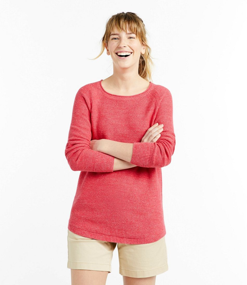 Women's Textured Cotton Sweater, Long-Sleeve