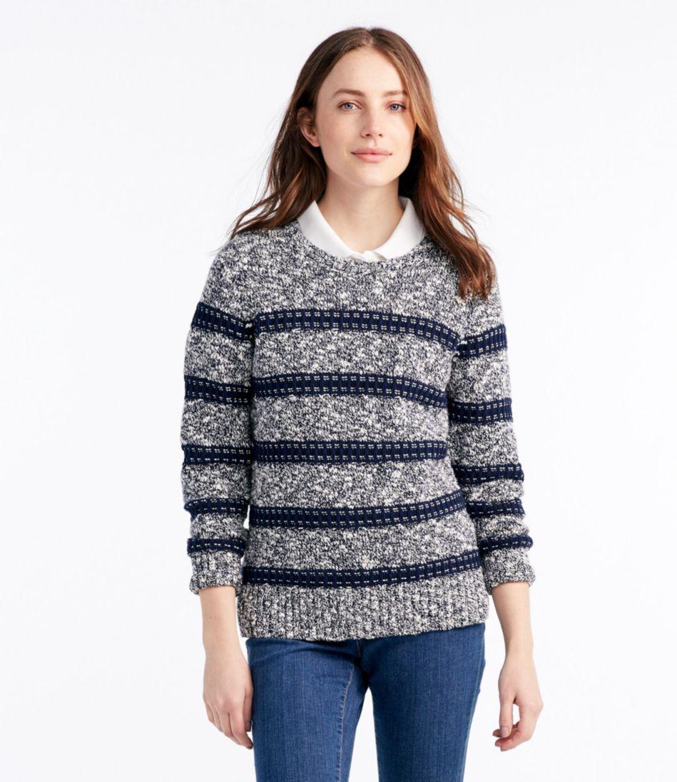 Cotton Ragg Sweater, Marled Stitch Stripe