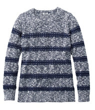 Women's Cotton Ragg Sweater, Marled Stitch Stripe