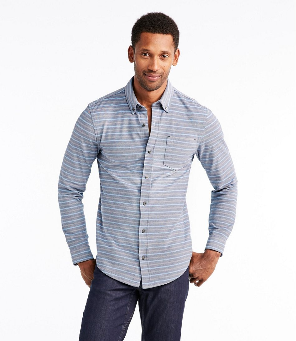 Llan Performance Pique Knit Shirt Long Sleeve Slightly Fitted