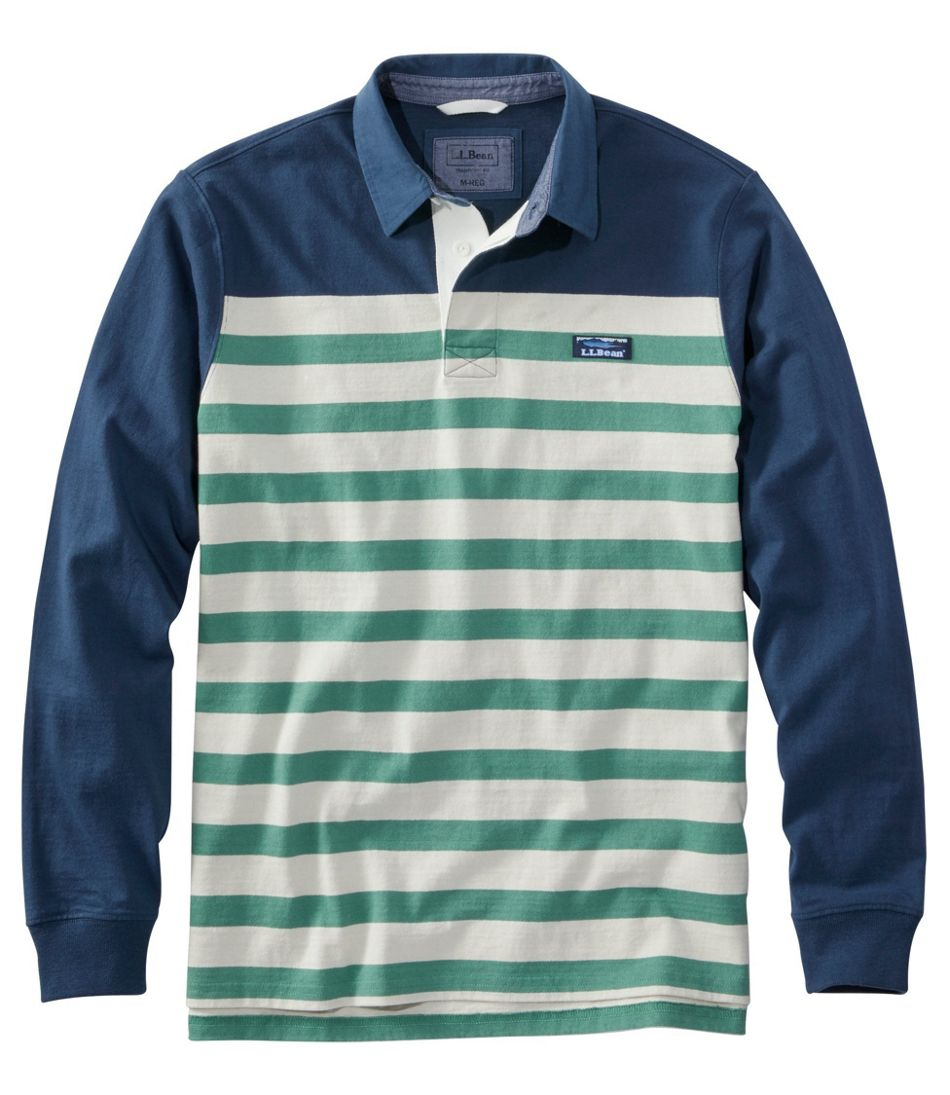 Men's Lakewashed® Rugby, Traditional Fit Long-Sleeve Engineered Shoulder Stripe