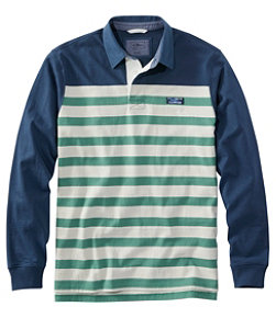 Men's Lakewashed Rugby, Traditional Fit Long-Sleeve Engineered Shoulder Stripe