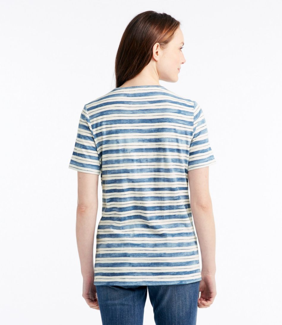 Organic Cotton Tee, Short-Sleeve U-Neck Stripe
