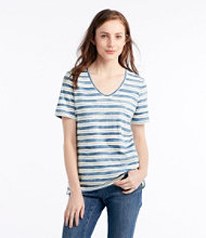 Organic Cotton Tee, Short-Sleeve U-Neck Stripe