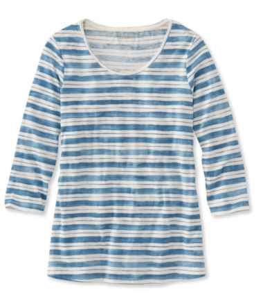 Organic Cotton Tee, Three-Quarter-Sleeve Scoopneck Stripe